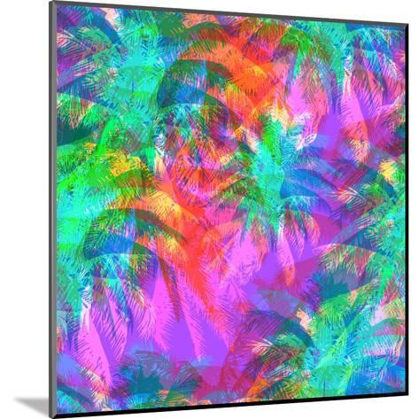 Tropical Pattern Depicting Pink and Purple Palm Trees with with Yellow Highlights Reflections on a-yulianas-Mounted Art Print