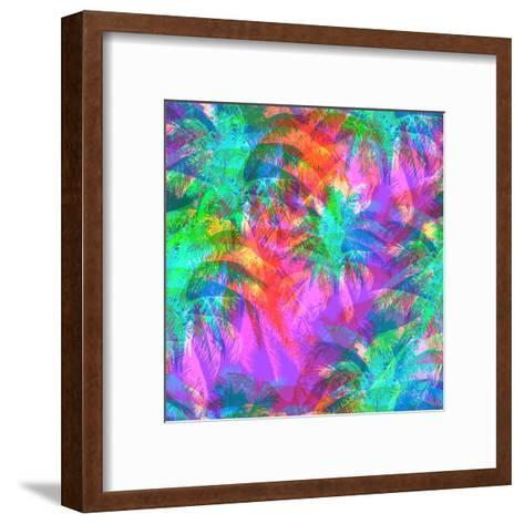 Tropical Pattern Depicting Pink and Purple Palm Trees with with Yellow Highlights Reflections on a-yulianas-Framed Art Print