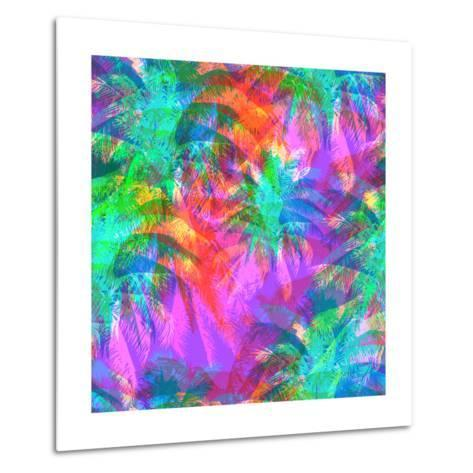 Tropical Pattern Depicting Pink and Purple Palm Trees with with Yellow Highlights Reflections on a-yulianas-Metal Print