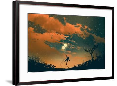 Man Flying with Balloon Lights at Sunset,Illustration Painting-Tithi Luadthong-Framed Art Print