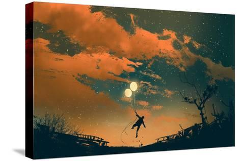 Man Flying with Balloon Lights at Sunset,Illustration Painting-Tithi Luadthong-Stretched Canvas Print
