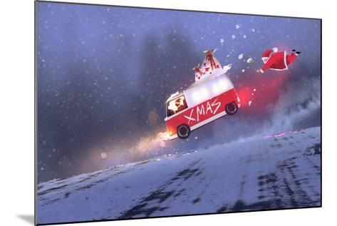 Funny Scene of Santa Claus and the Van with Christmas Gift Bags Jumping on Winter Road,Illustration-Tithi Luadthong-Mounted Art Print