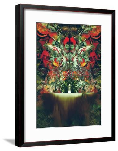 Woman in White Standing in Front of Fantasy Gate,Illustration Painting-Tithi Luadthong-Framed Art Print
