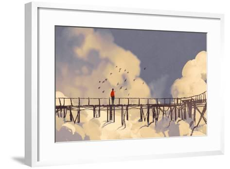 Man Standing on Old Bridge in Clouds,Illustration Painting-Tithi Luadthong-Framed Art Print