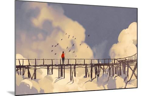 Man Standing on Old Bridge in Clouds,Illustration Painting-Tithi Luadthong-Mounted Art Print