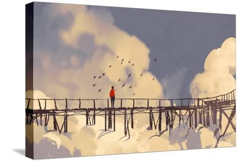 Man Standing on Old Bridge in Clouds,Illustration Painting-Tithi Luadthong-Stretched Canvas Print
