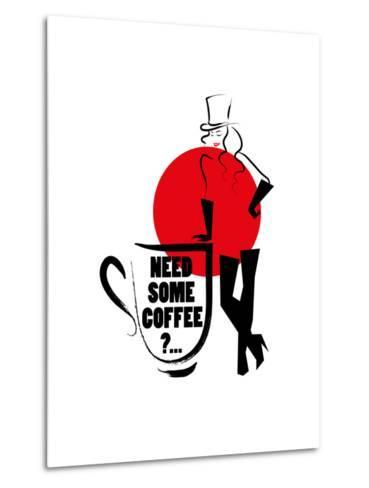 Vector Hand Drawn Portrait of Young Stylish Girl Isolated on White Background. Good for Coffee Post- Katflare-Metal Print