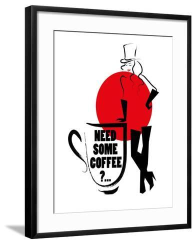 Vector Hand Drawn Portrait of Young Stylish Girl Isolated on White Background. Good for Coffee Post- Katflare-Framed Art Print