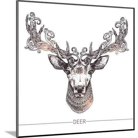 Ornamental Tattoo Deer Head. Highly Detailed Abstract Hand Drawn Style-Alex Rockheart-Mounted Art Print