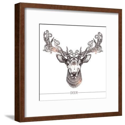 Ornamental Tattoo Deer Head. Highly Detailed Abstract Hand Drawn Style-Alex Rockheart-Framed Art Print
