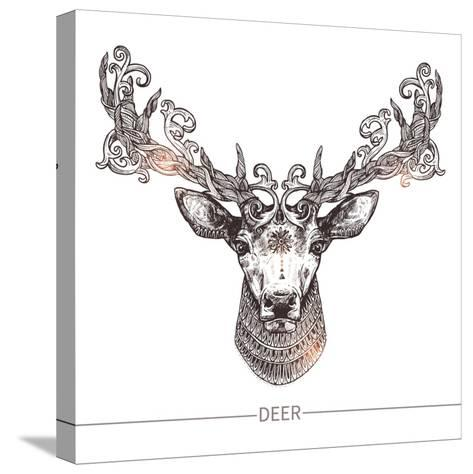 Ornamental Tattoo Deer Head. Highly Detailed Abstract Hand Drawn Style-Alex Rockheart-Stretched Canvas Print