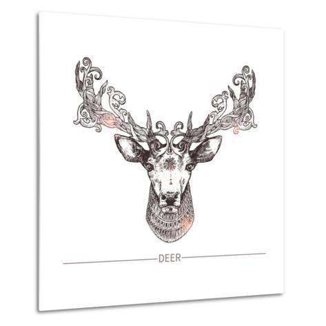 Ornamental Tattoo Deer Head. Highly Detailed Abstract Hand Drawn Style-Alex Rockheart-Metal Print