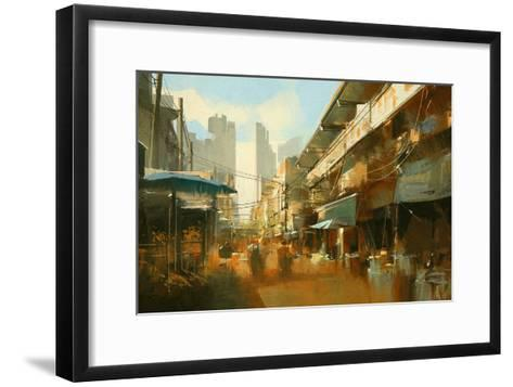 Painting of Colorful Street Market,Illustration-Tithi Luadthong-Framed Art Print