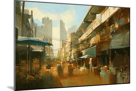 Painting of Colorful Street Market,Illustration-Tithi Luadthong-Mounted Art Print