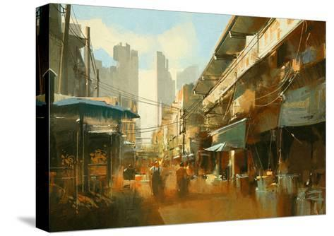 Painting of Colorful Street Market,Illustration-Tithi Luadthong-Stretched Canvas Print