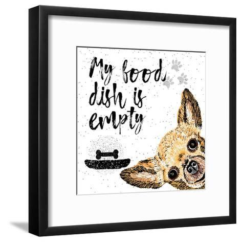 My Food Dish is Empty. Vector Illustration with Hand Drawn Lettering and Dog on Texture Background.-Golden Shrimp-Framed Art Print
