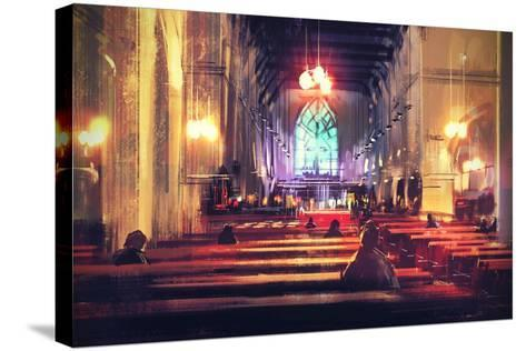 Interior View of a Church,Digital Painting,Illustration-Tithi Luadthong-Stretched Canvas Print