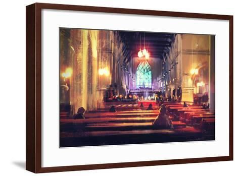Interior View of a Church,Digital Painting,Illustration-Tithi Luadthong-Framed Art Print