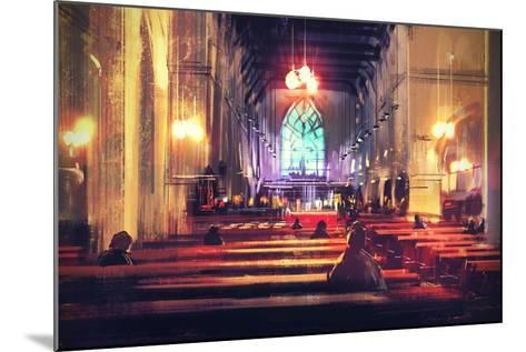 Interior View of a Church,Digital Painting,Illustration-Tithi Luadthong-Mounted Art Print