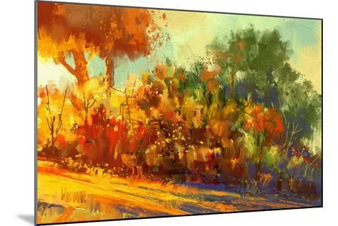 Landscape Painting of Beautiful Autumn Forest with Sunlight-Tithi Luadthong-Mounted Art Print