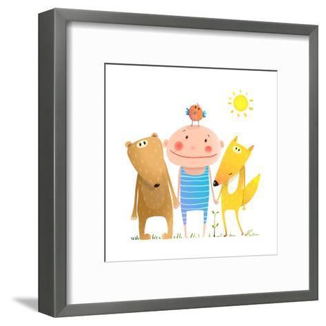 Animals and Child Friends Fox Bear Bird Kid Childish Funny in Nature Cartoon. Kids Smiling Cute Fri-Popmarleo-Framed Art Print