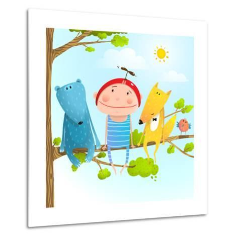 Funny Animals and Boy Friends Sitting on the Tree, Baby Kid and Fox, Bear Funny Friendship Colorful-Popmarleo-Metal Print