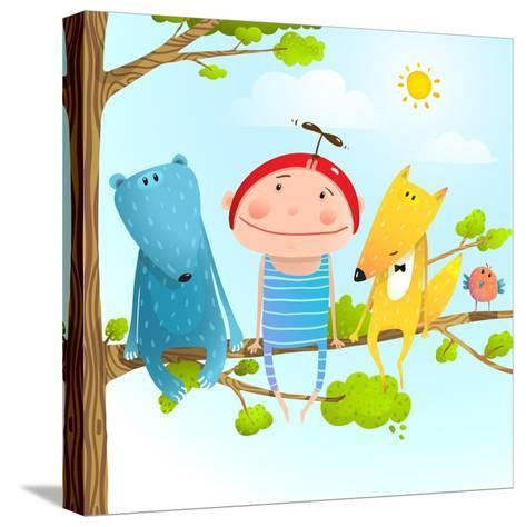 Funny Animals and Boy Friends Sitting on the Tree, Baby Kid and Fox, Bear Funny Friendship Colorful-Popmarleo-Stretched Canvas Print