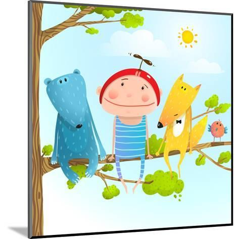 Funny Animals and Boy Friends Sitting on the Tree, Baby Kid and Fox, Bear Funny Friendship Colorful-Popmarleo-Mounted Art Print