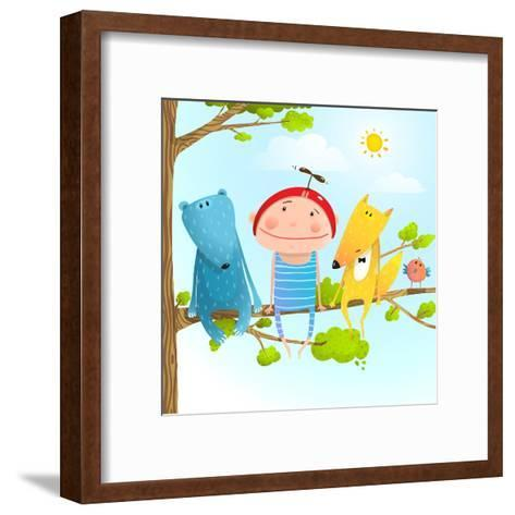 Funny Animals and Boy Friends Sitting on the Tree, Baby Kid and Fox, Bear Funny Friendship Colorful-Popmarleo-Framed Art Print