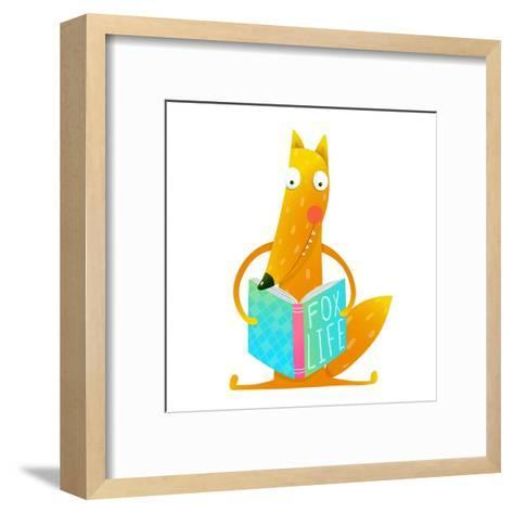 Cute Red Fox Sitting and Reading Book - Fox Life. Wildlife Brightly Colored Hand Drawn Watercolor S-Popmarleo-Framed Art Print