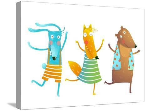 Cute Baby Animals Rabbit Fox Bear Dancing or Playing Kids Characters Wearing Clothes. Childish Cart-Popmarleo-Stretched Canvas Print