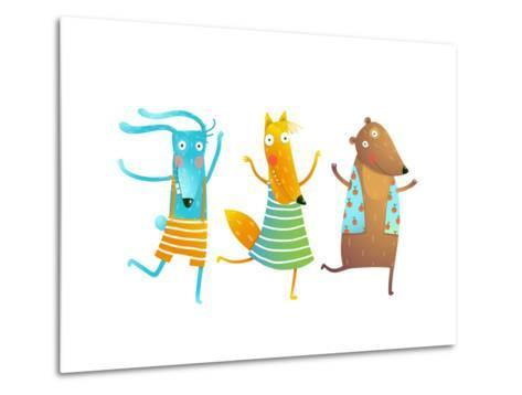 Cute Baby Animals Rabbit Fox Bear Dancing or Playing Kids Characters Wearing Clothes. Childish Cart-Popmarleo-Metal Print