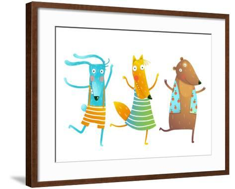Cute Baby Animals Rabbit Fox Bear Dancing or Playing Kids Characters Wearing Clothes. Childish Cart-Popmarleo-Framed Art Print