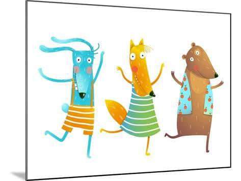 Cute Baby Animals Rabbit Fox Bear Dancing or Playing Kids Characters Wearing Clothes. Childish Cart-Popmarleo-Mounted Art Print