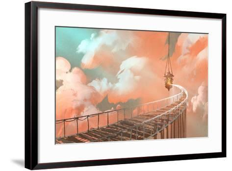 Rope Bridge Leading to the Hanging Lantern in a Clouds,Illustration Painting-Tithi Luadthong-Framed Art Print
