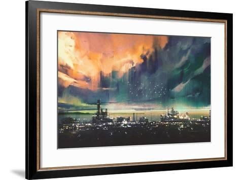Landscape Digital Painting of Sci-Fi City,Illustration-Tithi Luadthong-Framed Art Print