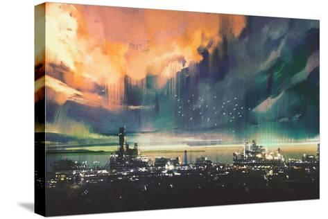 Landscape Digital Painting of Sci-Fi City,Illustration-Tithi Luadthong-Stretched Canvas Print