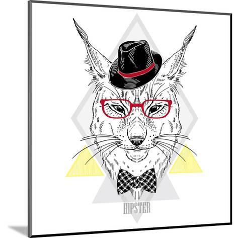 Portrait of Hipster Lynx in a Geometric Frame-Olga_Angelloz-Mounted Art Print
