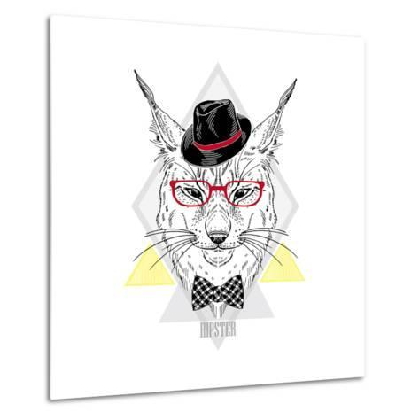 Portrait of Hipster Lynx in a Geometric Frame-Olga_Angelloz-Metal Print