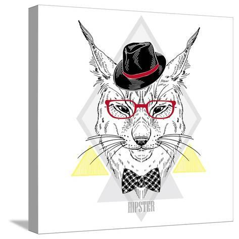 Portrait of Hipster Lynx in a Geometric Frame-Olga_Angelloz-Stretched Canvas Print