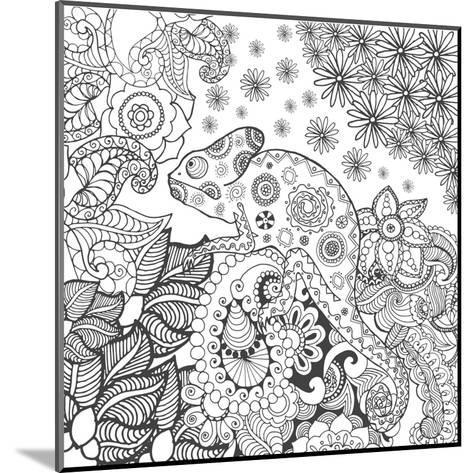 Chameleon in Fantasy Forest. Animals. Hand Drawn Doodle. Ethnic Patterned Illustration. African, In- Palomita-Mounted Art Print