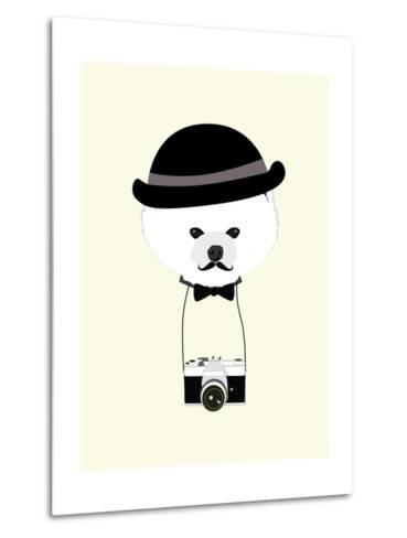 Cute Dog Photographer with Old Camera Vintage Illustration Vector-The Cute Design Studio-Metal Print