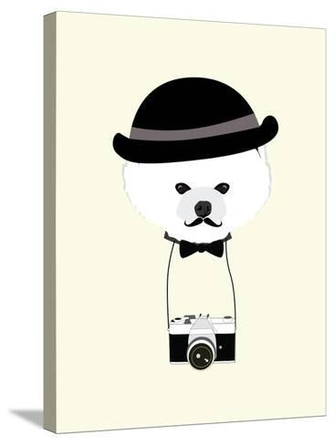 Cute Dog Photographer with Old Camera Vintage Illustration Vector-The Cute Design Studio-Stretched Canvas Print