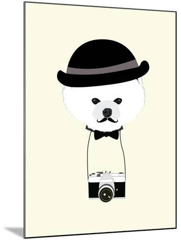 Cute Dog Photographer with Old Camera Vintage Illustration Vector-The Cute Design Studio-Mounted Art Print
