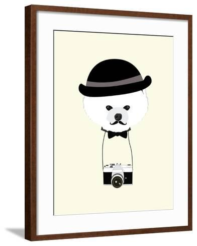 Cute Dog Photographer with Old Camera Vintage Illustration Vector-The Cute Design Studio-Framed Art Print