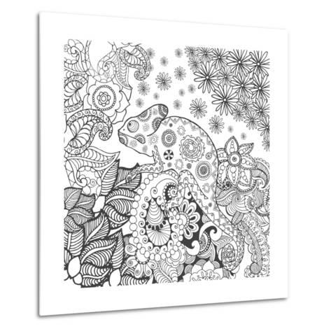 Chameleon in Fantasy Forest. Animals. Hand Drawn Doodle. Ethnic Patterned Illustration. African, In- Palomita-Metal Print