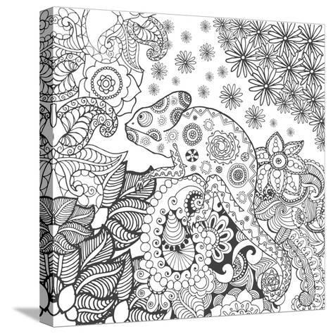 Chameleon in Fantasy Forest. Animals. Hand Drawn Doodle. Ethnic Patterned Illustration. African, In- Palomita-Stretched Canvas Print