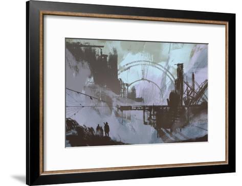 Illustration of a Dark City,Digital Painting,Concept Art-Tithi Luadthong-Framed Art Print