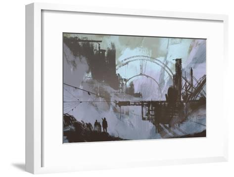 Illustration of a Dark City,Digital Painting,Concept Art-Tithi Luadthong-Framed Art Print