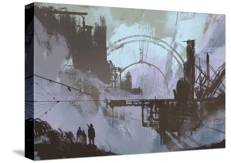 Illustration of a Dark City,Digital Painting,Concept Art-Tithi Luadthong-Stretched Canvas Print